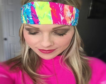 Electric ~ #050 Feather Headband, Tie Dye Headband, Tie Dye, Headbands, Hippie Headband, Hippie Runner, Running Headband, Women's Headband
