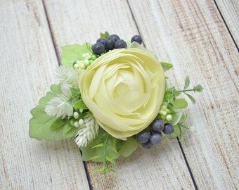 Ivory hair clip Bridal hair clip Wedding hair piece Bridal headpiece Bridesmaid hair style Bridal flower clip Wedding flower clip Ivory