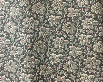 Dark Green Cotton Fabric, Quilting Fabric, Reproduction Fabric, Cotton Fabric, Floral Fabric, 9 x 44