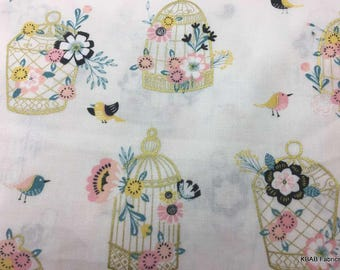 Bird Cage Floral Fabric By the Yard, Half, FQ Flowers Birds Cages Birdcage Cream Cotton Quilt Fabric a2/25