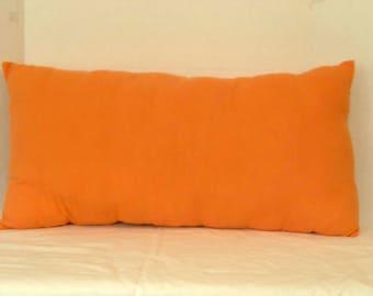 Small Lumbar Pillow, Orange Flannel, Boyfriend Gift, College Student Gift, Bedroom Decor, Complete Pillow