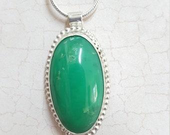 Chrysoprase Pendant. Set in Sterling Silver.  Beautiful green stone. Handmade.