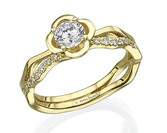 Engagement ring, Yellow gold ring, Floral ring, Diamond ring, Diamond engagement ring, Engagement yellow ring, Unique engagement ring, Rings