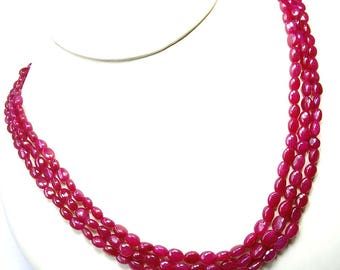 Finest Quality Ruby Smooth Oval Shape Beads Brand New Arrival,Full 16 Inch Strand, Dyed RUBY Smooth Ovals Briolettes,5-7mm Long