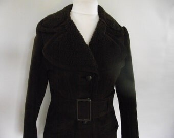 Vintage chocolate brown suede coat with belt Original 60s 70s size small to medium