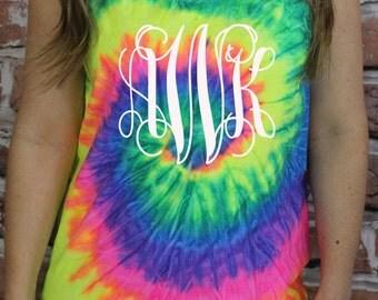 Monogram Tie Dye Tank Top - Bridesmaid Sorority Gift - Short Sleeve - Personalized
