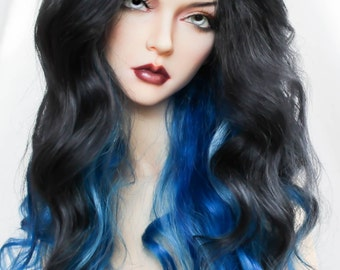 Long wavy angora mohair wig for bjd