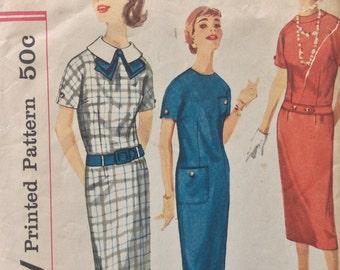 Simplicity 2442 junior misses sheath dress size 12 bust 32 vintage 1950's sewing pattern