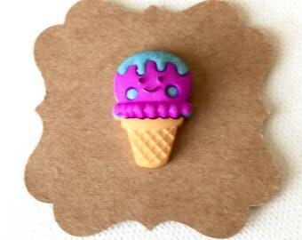 Kawaii Ice Cream Cone Pin, Ice Cream Scoop Pin, Tie Tack, Brooch, Chibi, Tiny Food, Dessert, Tie Clip, Mini Food