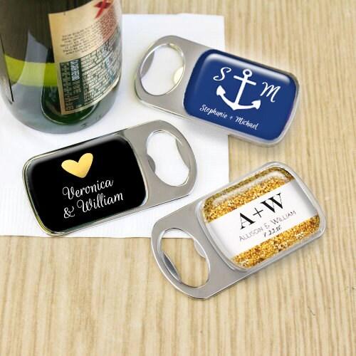 set personalized bottle opener wedding favor by eventdazzle. Black Bedroom Furniture Sets. Home Design Ideas