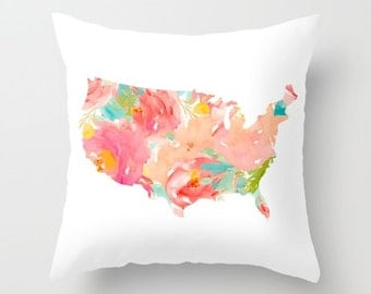 United States Map Pillow Floral Pillow Cover USA Map Pillow Continental US Floral Map Pillow American Style Southern Patriotic Home Decor