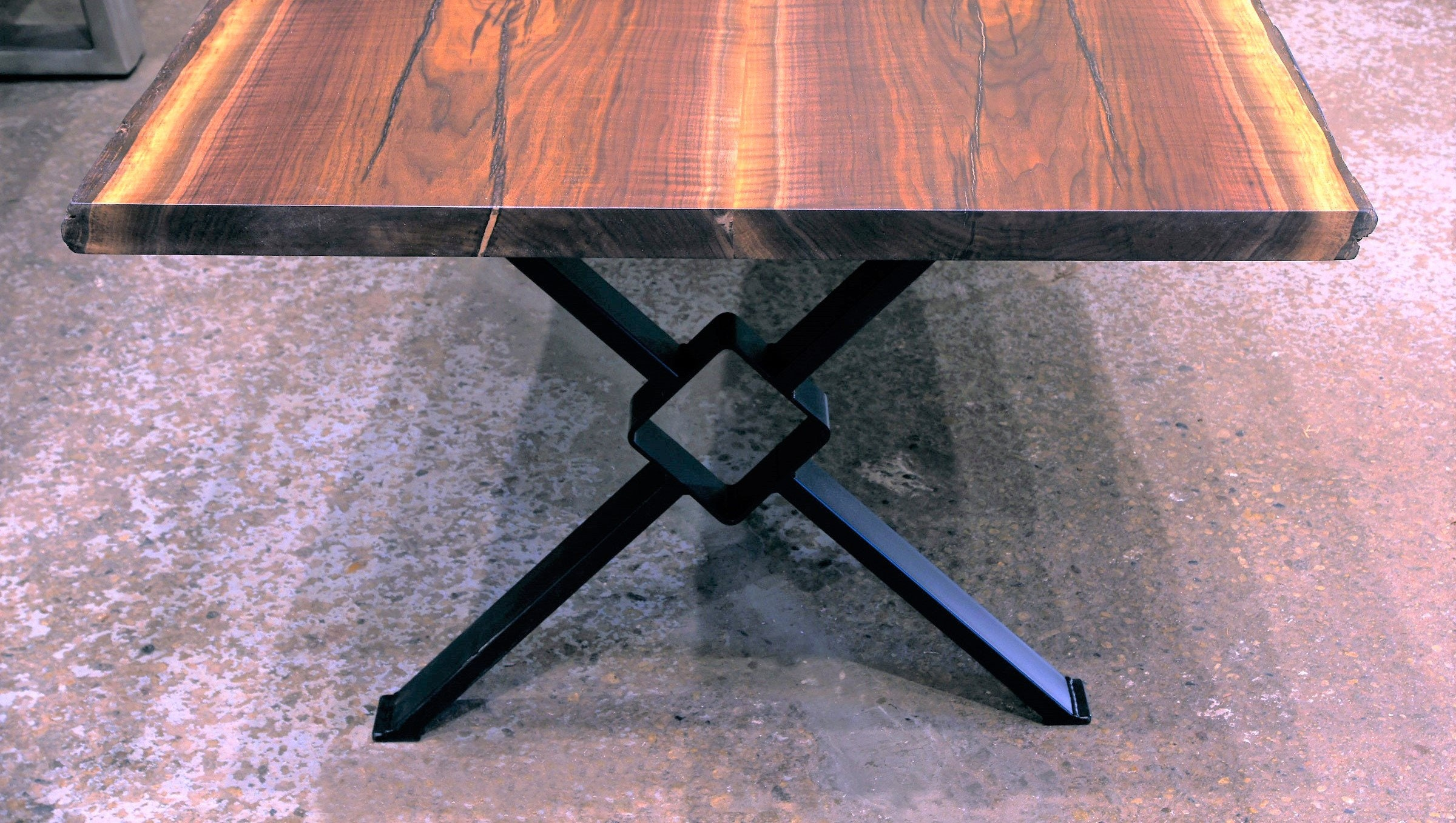 Live Edge Black Walnut Dining Tables. Kiln Dried Slabs. Modern X Table Legs  With 6 Middle Square.