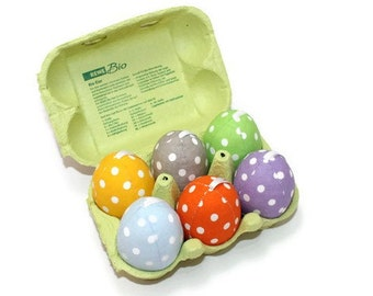 Easter eggs in the carton fabric eggs fabric Easter eggs, spotted colorful unbreakable dots 6 piece Eisbaerchenmama