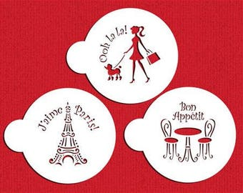 "I LOVE PARIS Cookie Stencil  Set ""Designer Stencils"""