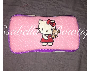 Pink Hello Kitty travel wipe case;wipe cases;pink wipe case;custom wipe case;hello kitty wipe case; wipes container