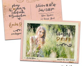 Vintage Postcard Graduation Announcement & Graduation Party Invitation - Customized for you! Printable or Printed with Envelopes. Gold Rose