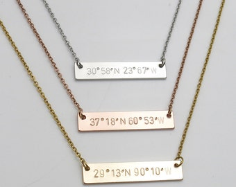 Personalized gifts Coordinate Necklace Bar necklace hand stamped jewelry Birthday Gift friendship gift