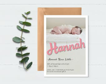 Birth Announcement Card - Baby Announcement - Photo Announcement - Baby Photo Card - Baby Thank You Card - Digital Baby Card