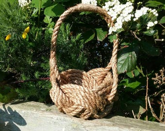 Rustic Flower Girl Basket, Bridesmaids Wedding Basket, Natural Rope Knot Bowl with Handle. Nautical Knot Planter.