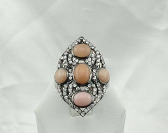 Unique Pink Opal and Rhinestone Sterling Silver  Ring Size 8 1/4 #PKOPAL-SR3
