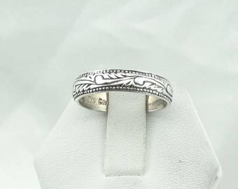 Simple Paisley Pattern Solid Sterling Silver Band/Ring Size 7 3/4  #PAISLEY-SR4