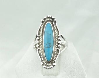 "Beautiful Vintage ""OTT"" Hallmark Turquoise Sterling Silver Native American Ring Size 6  #OTT-SR4"