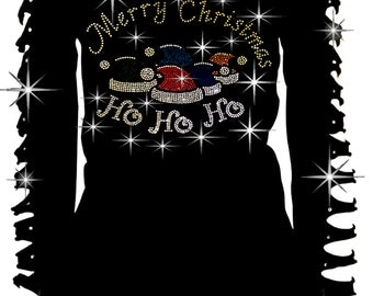 Bling Rhinestone T-Shirt,Merry Christmas Santa Claus Caps Ho Ho Ho Cut Out Long S~3XL