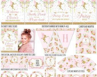 Fairy Party Package & Fairy Birthday Invitation Floral Pink Gold Fairy Party Decorations Fairy Printable Party Package Pink Gold Fairy Party