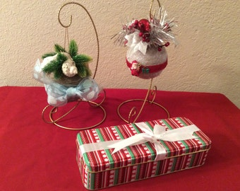 "Christmas 4"" ball, Nautical ornament, Glittery silver & red ornament, handcrafted ornament, tree ornament, tree decor, free shipping special"