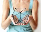 Small Geometric Terrarium, Stained Glass Indoor Planter, Icosahedron, Geometric Succulent Pot, Modern Moss Planter, Indoor Gardening