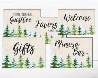 SALE Welcome Favors Guestbook Woodland Forest Trees Baby shower Bridal Shower Woodland Trees Pine Trees sign Birthday Forest Sign