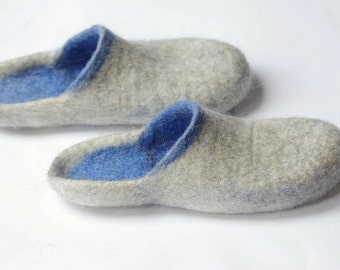Felted wool slippers- boiled organic shoes- step in slippers- blue slippers- woman slippers