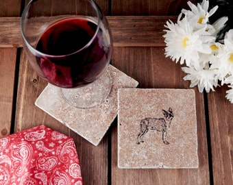 Set of 4 Boston Terrier Travertine Stone Coasters