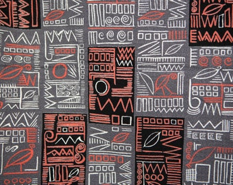 Hieroglyphic barkcloth fabric vintage 50's eames era - egyptian, mayan, ethnic, tribal - coral orange black white gray