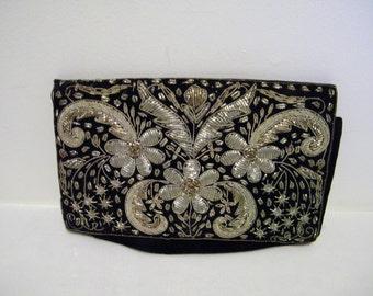 Vintage Black Velvet Silver Thread Flower Clutch Evening Bag w/Tag India
