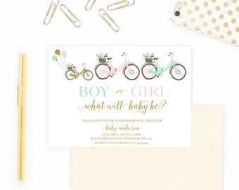 Gender Reveal Invitation, Bicycle Gender Reveal Party Invite, Boy Or Girl Invitation, Gender Reveal Party Invitation, Hipster Invites [366]