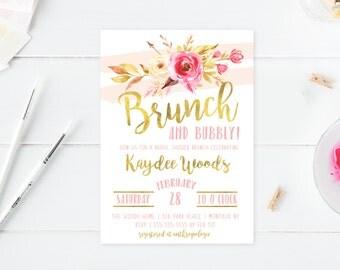 Floral Bridal Shower Invitation, Boho Bridal Shower Invitation, Flowers, Gold, Printable, Printable Invites, Bridal Shower Invites [581]