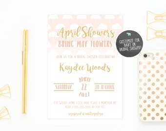 Bridal Shower Invitation, Umbrella Bridal Shower Invite, Pretty Bridal Shower Invites, April Showers Bring May Flowers, Shower Invite [586]