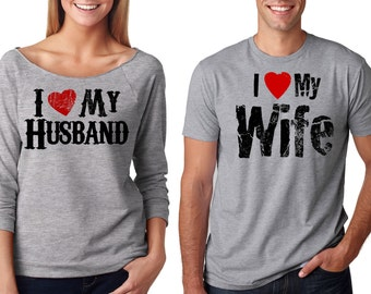 Valentine's Day Matching Couple T-shirts I love my wife I love my Husband French Terry Tee Shirt GRAY gift tees
