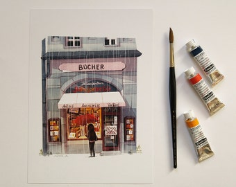 Bookstore DIN A4 laserprint 21 x 30 cm from my watercolor illustration