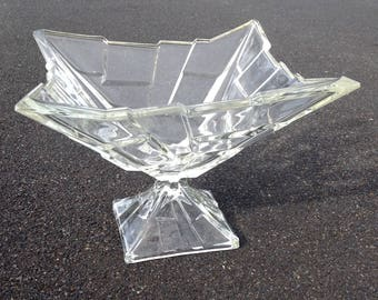 Large Cubist Footed Glass Bowl