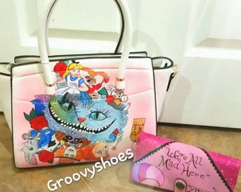 Alice I  wonderland bag Cheshire cat bag   ladies bag and purse SET