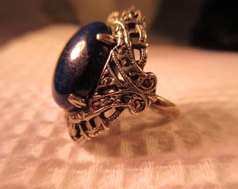 Vintage Sterling Silver Blue Lapis Ring - 5