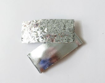 Silver Leather Snap Clip