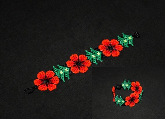 Native American Bracelet, Huichol Bracelet, Orange Flower Bracelet, Mexican Jewelry, Huichol Jewelry, Authentic, Traditional Beading