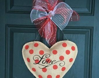 Valentine's Day Burlap Door Hanger