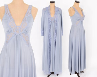 70s Olga Smokey Blue Peignoir Set | Blue Lingerie Gown & Robe | Boudoir | Small