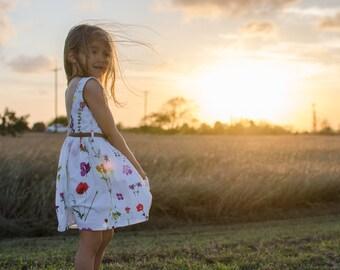 Girl Spring Dress, Easter Dress,  Girl Lace Dress, Girl vintage dress, baby Dress, toddler dress, Girl Birthday Dress, Girl Floral Dress