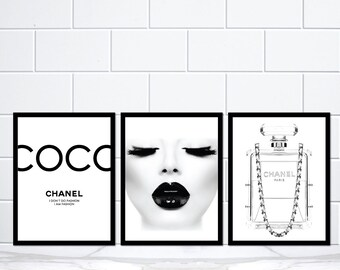 Set of 3 Coco Chanel Black Lips Chanel Perfume Bottle Black Lady Art Print Poster Prints