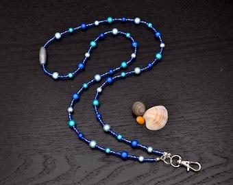 Blue Lanyard - ID Lanyard - Office Lanyard - Blue Beaded Lanyard - September Birthstone - Teacher Lanyard - Teacher Christmas Gift